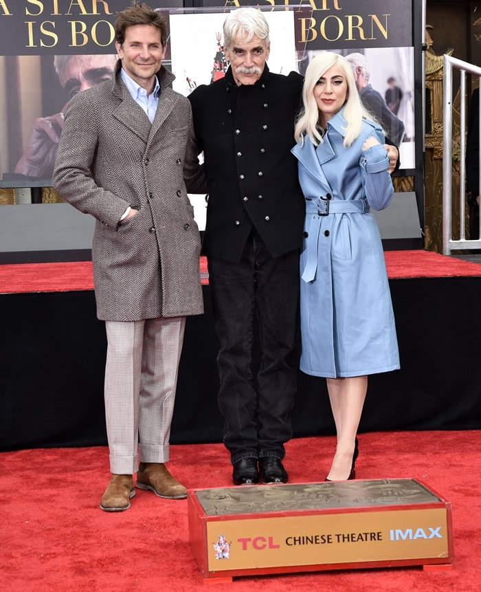 Bradley Cooper and Lady Gaga joined Sam Elliott at his Hand and Footprint Ceremony at the TCL Chinese Theatre in Hollywood on January 7, 2019