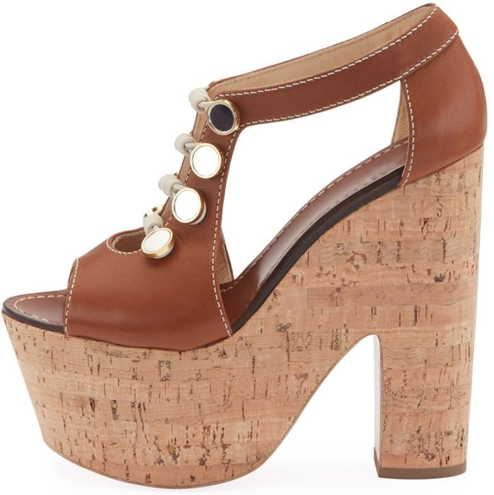 Christian Louboutin Ordonanette sandal in smooth calf, embellished with buttons and toggles on front