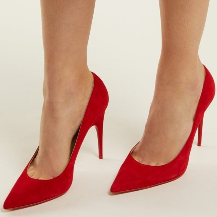 f7ae17db77a Alminette Sophisticated Suede Pumps With Sculptural Stiletto Heel