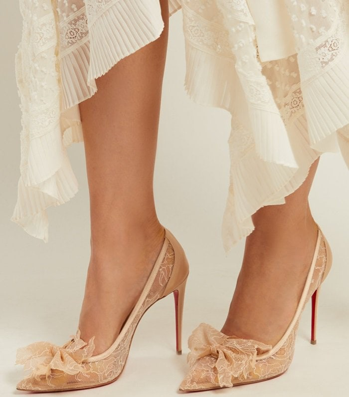 uk availability 1f6d3 30a2a Delicatissima With Floral Lace Trim by Christian Louboutin