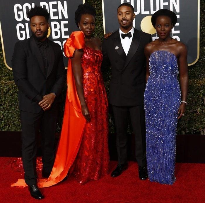 Chadwick Boseman, Danai Gurira, Lupita Nyong'o, and Michael B. Jordan at the 2019 Golden Globe Awards at the Beverly Hilton Hotel in Beverly Hills, California, on January 6, 2019