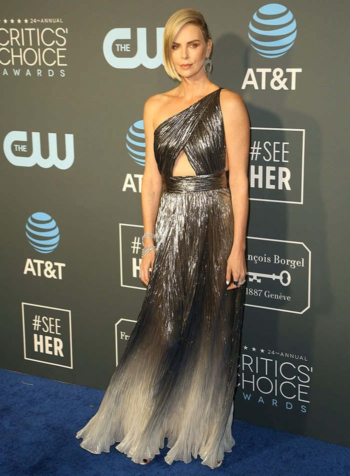 Charlize Theron arriving at the 2019 Critics' Choice Awards at the Barker Hangar in Santa Monica, California, on January 13, 2019