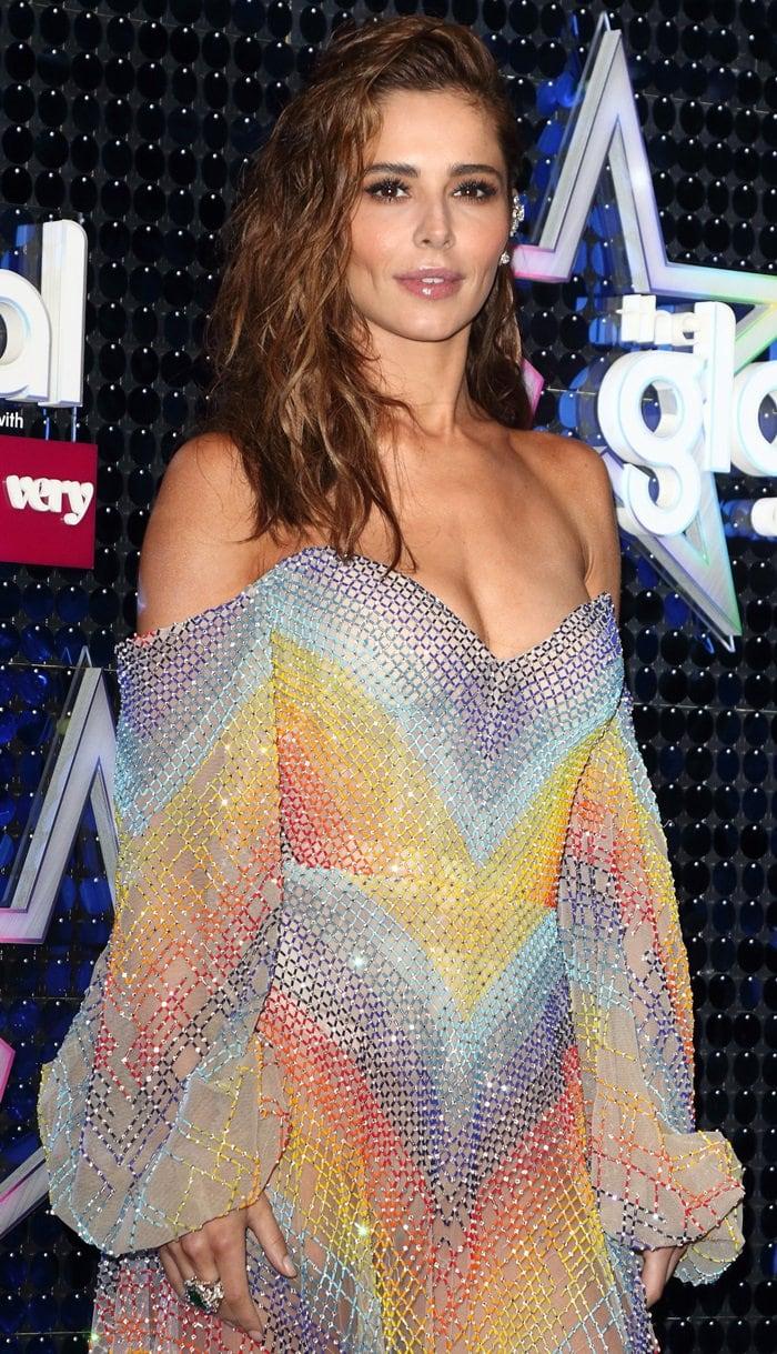 Cheryl's glittering off-the-shoulder dress from Lebanese American fashion designer Rami Kadi