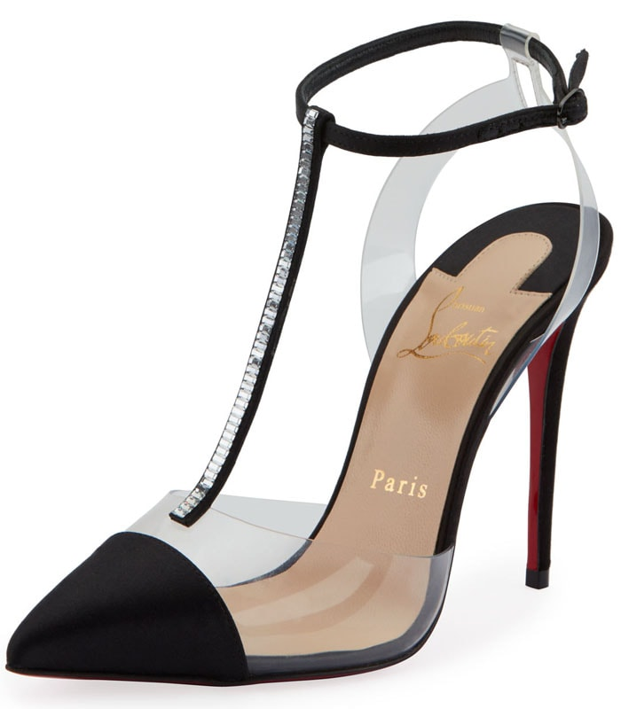 Christian Louboutin 'Nosy' Satin-and-PVC T-Strap Pumps in Black
