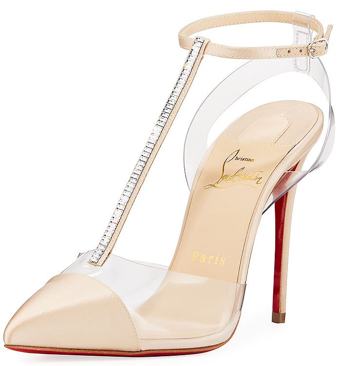 Christian Louboutin 'Nosy' Satin-and-PVC T-Strap Pumps in Beige