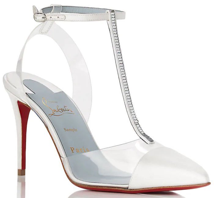 Christian Louboutin 'Nosy' Satin-and-PVC T-Strap Pumps in White