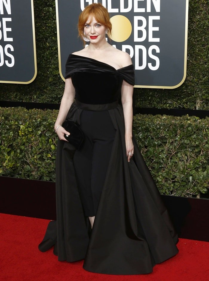 Christina Hendricks in a custom Christian Siriano outfit at the 2018 Golden Globe Awards held at the Beverly Hilton Hotel in Beverly Hills, California, on January 7, 2018