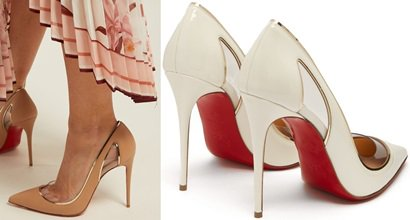 13cdb2aebf80 Cosmo Cutout Metallic Piped Patent Pumps With PVC Trim by Christian  Louboutin