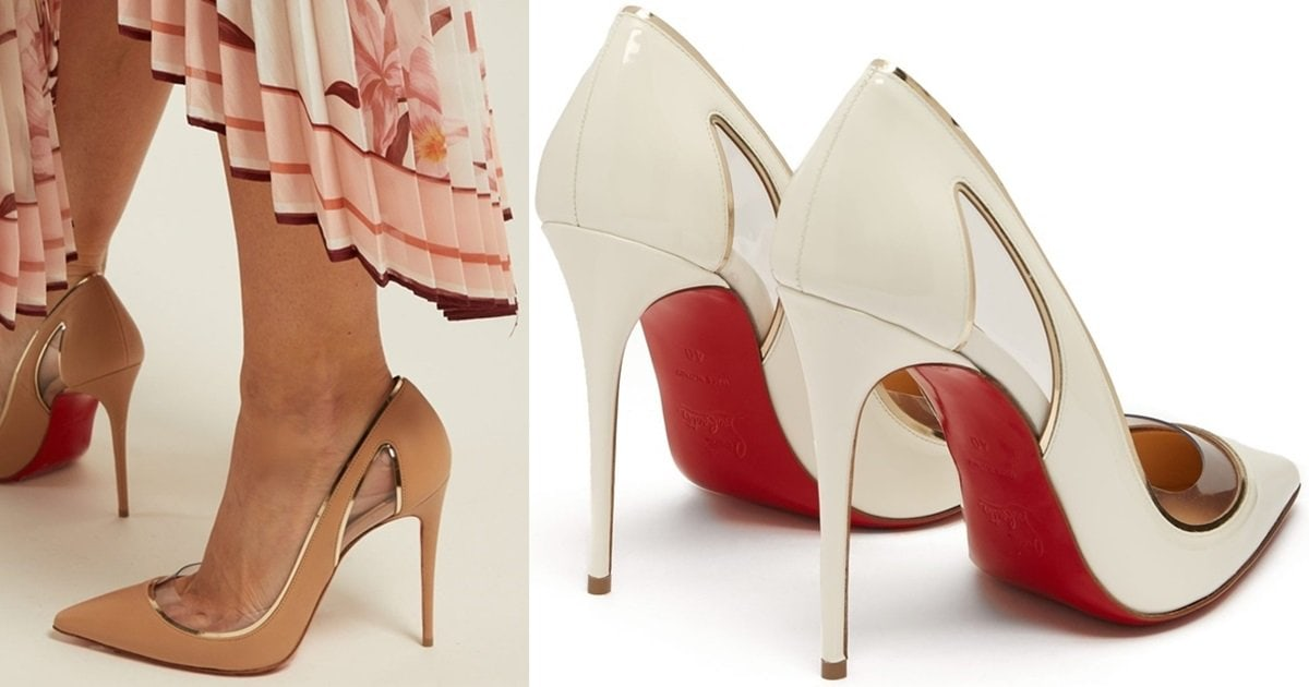 23dfdb2ae126 Cosmo Cutout Metallic Piped Patent Pumps With PVC Trim by Christian  Louboutin