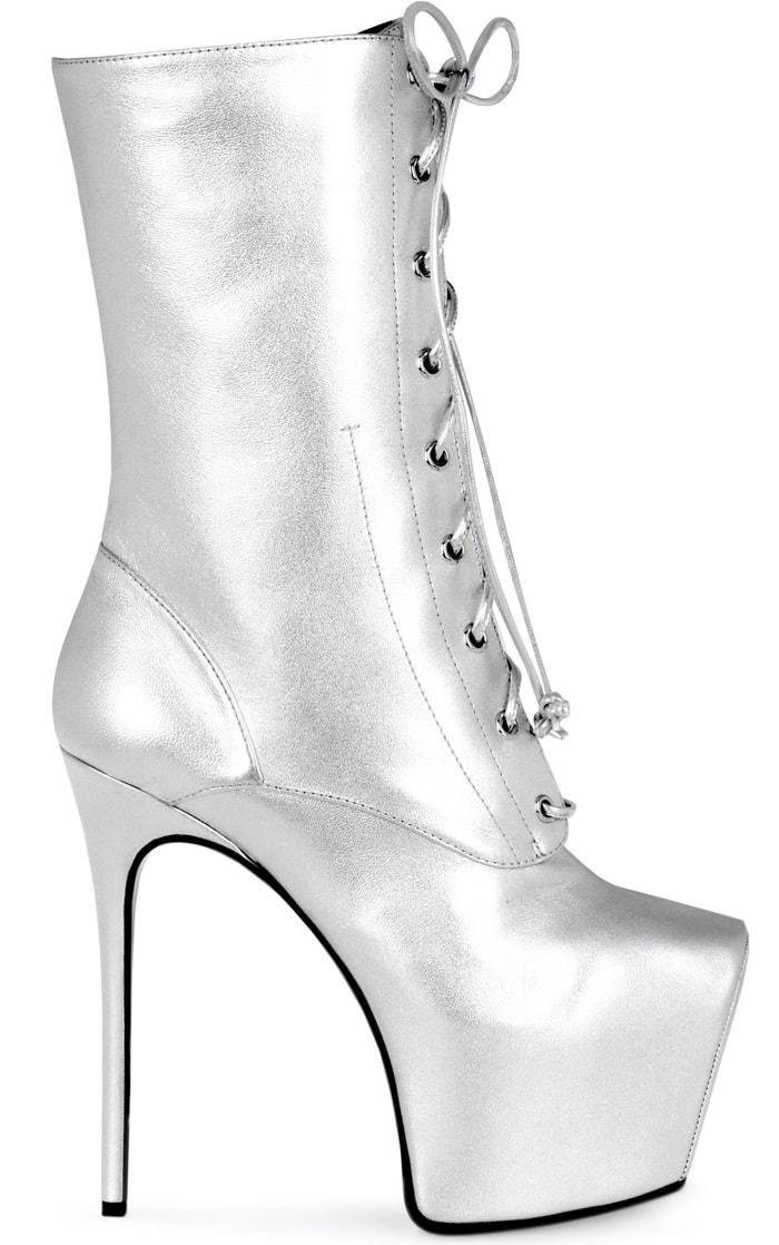 Custom Giuseppe Zanotti Silver Lace-Up Bootie