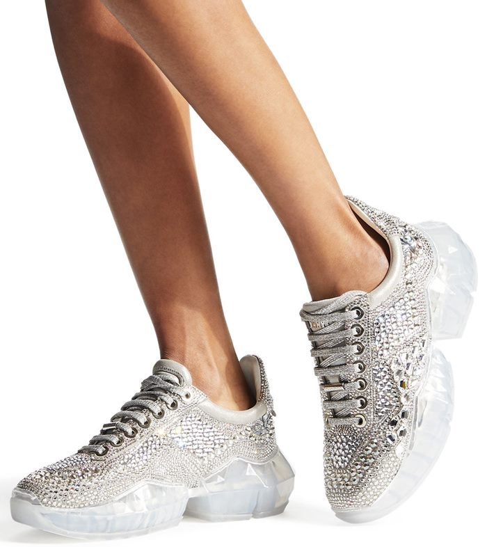 The most trendy and in style trainers this season, meet the Diamond F in crystal shimmer suede with crystal application