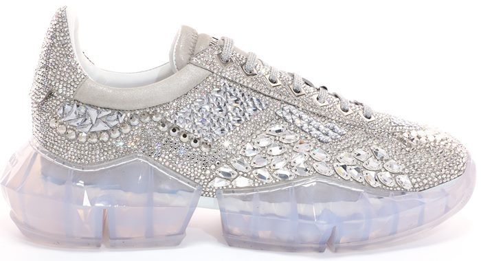 Crystal Shimmer Suede Diamond Trainers with Crystal Application and Chunky Platform