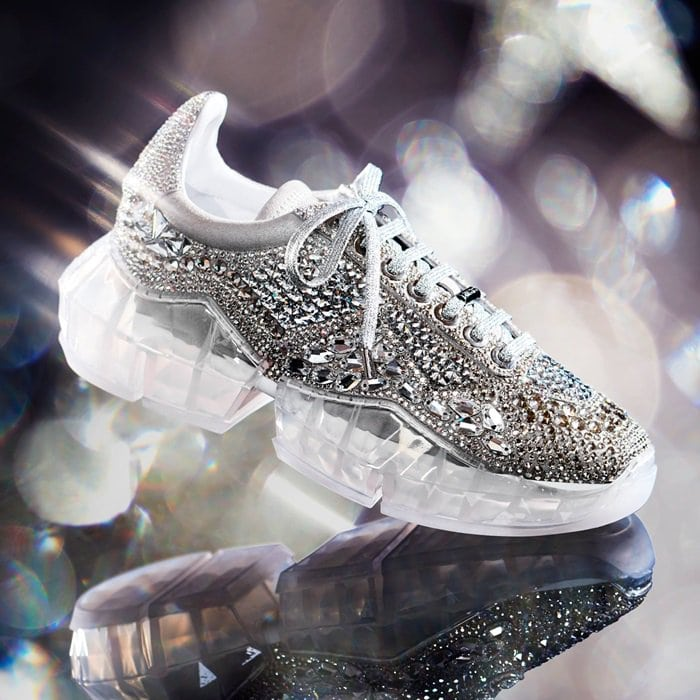 The Diamond sneakers are embellished with 4,546 individual Swarovski crystals