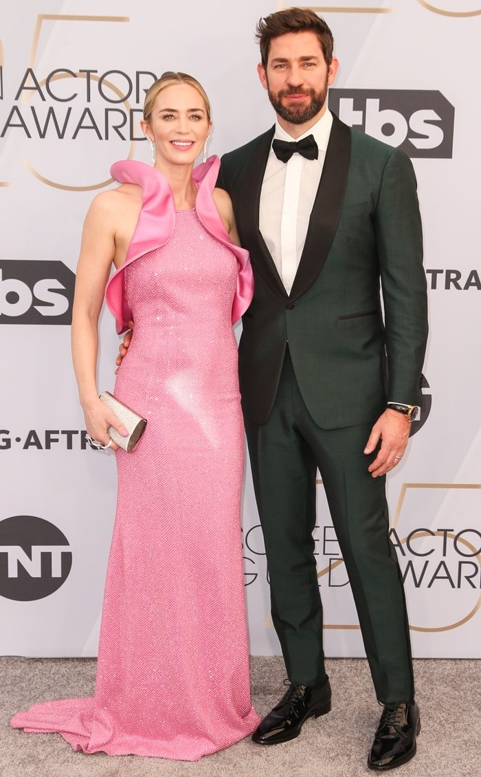 Emily Blunt and her husband John Krasinski at the 2019 Screen Actors Guild Awards held at the Shrine Auditorium in Los Angeles on January 27, 2019