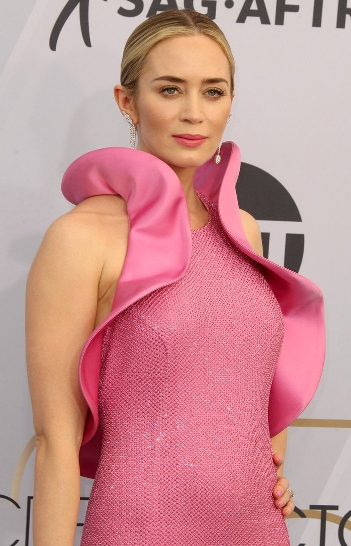 Emily Blunt's custom pink Michael Kors vagina dress featuring large ruffle sleeves