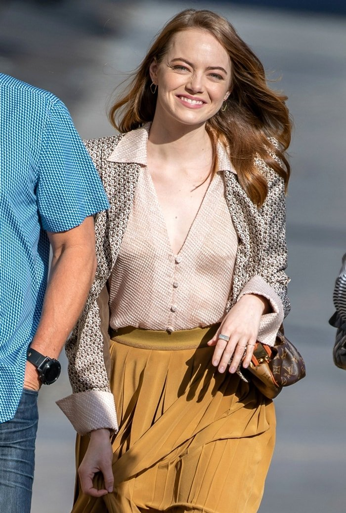 Emma Stone, who was paid $26 million (pretax) for La La Land, arriving for her appearance on Jimmy Kimmel