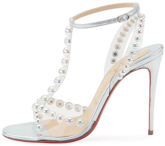 Christian Louboutin's iridescent silver leather Faridaravie sandals have a contemporary glamour