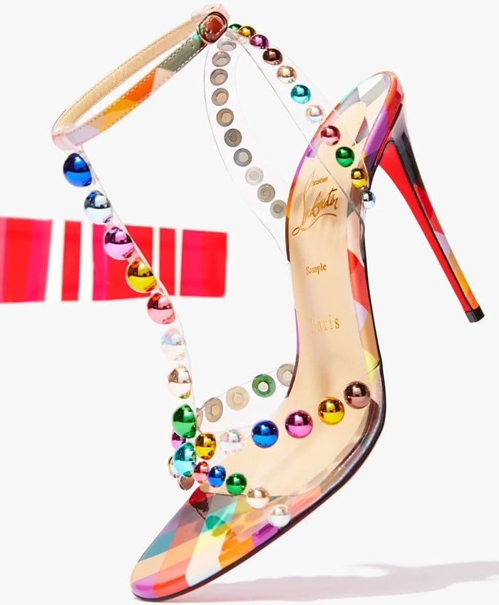 Christian Louboutin sandals in bauble-studded clear vinyl and patent leather