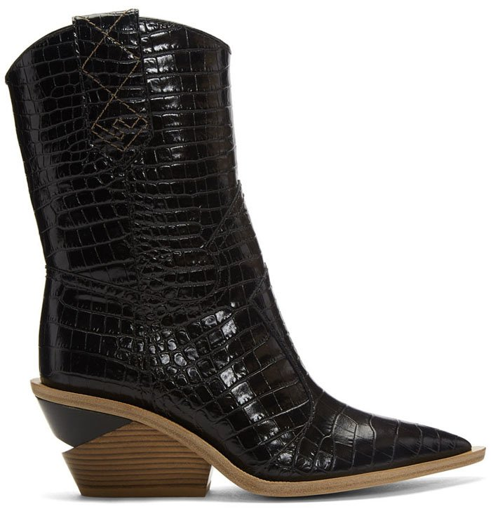 Fendi Notched-Heel Cowboy Boots in Black Croc
