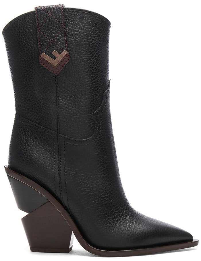 Fendi Notched-Heel Cowboy Boots in Black Leather
