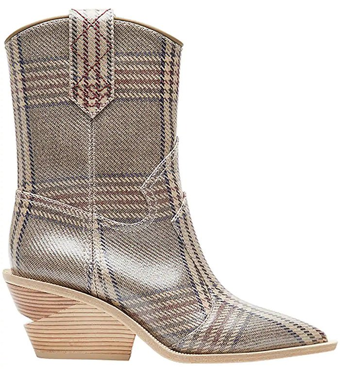 Fendi Notched-Heel Cowboy Boots in Houndstooth
