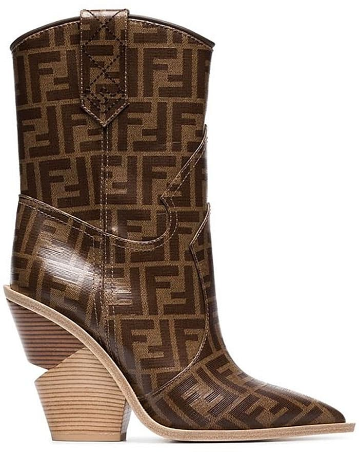 Fendi Logo-Print Cowboy Boots