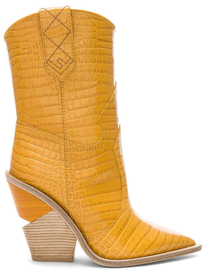 Fendi Notched-Heel Cowboy Boots in Ochre Leather