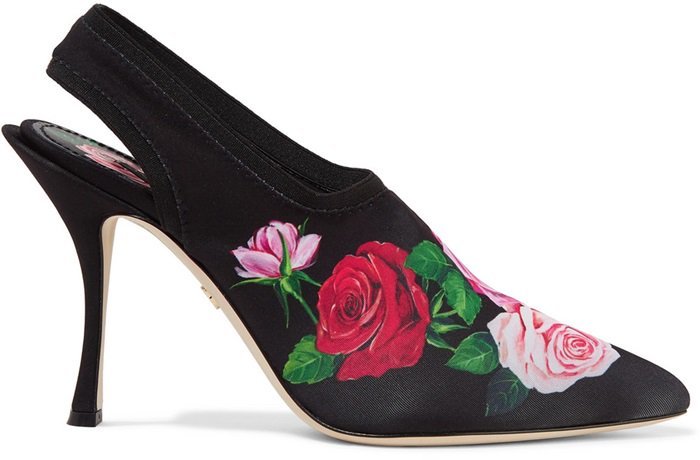 Made in Italy from stretch-jersey, this point-toe pair has an elasticated slingback strap and is set on a curved heel