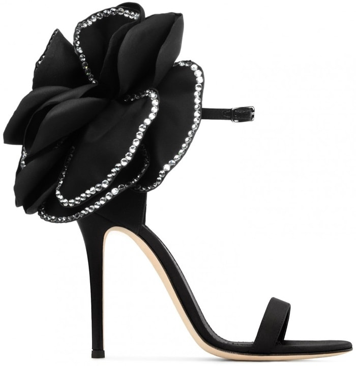 These couture sandals are made from black satin and adorned with the Peony Flower application trimmed with crystals
