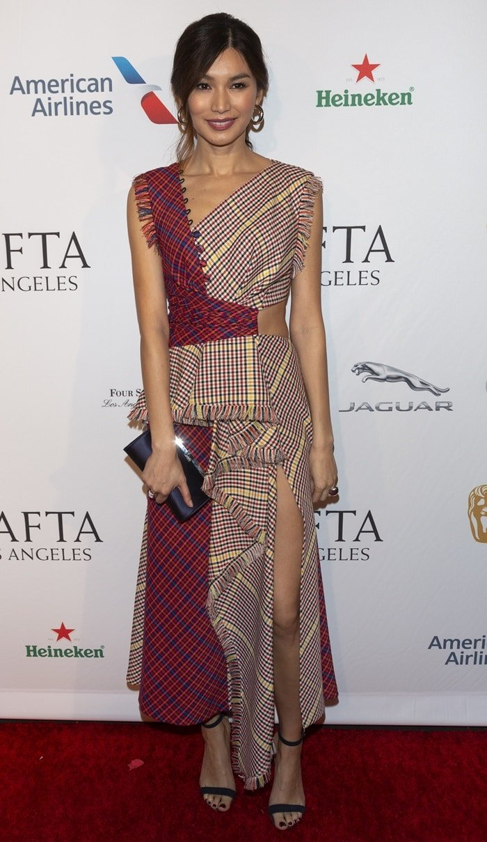 Gemma Chan's over-designed Prabal Gurung dress at the BAFTA Tea Party at the Four Seasons Hotel in Beverly Hills, California, on January 5, 2019