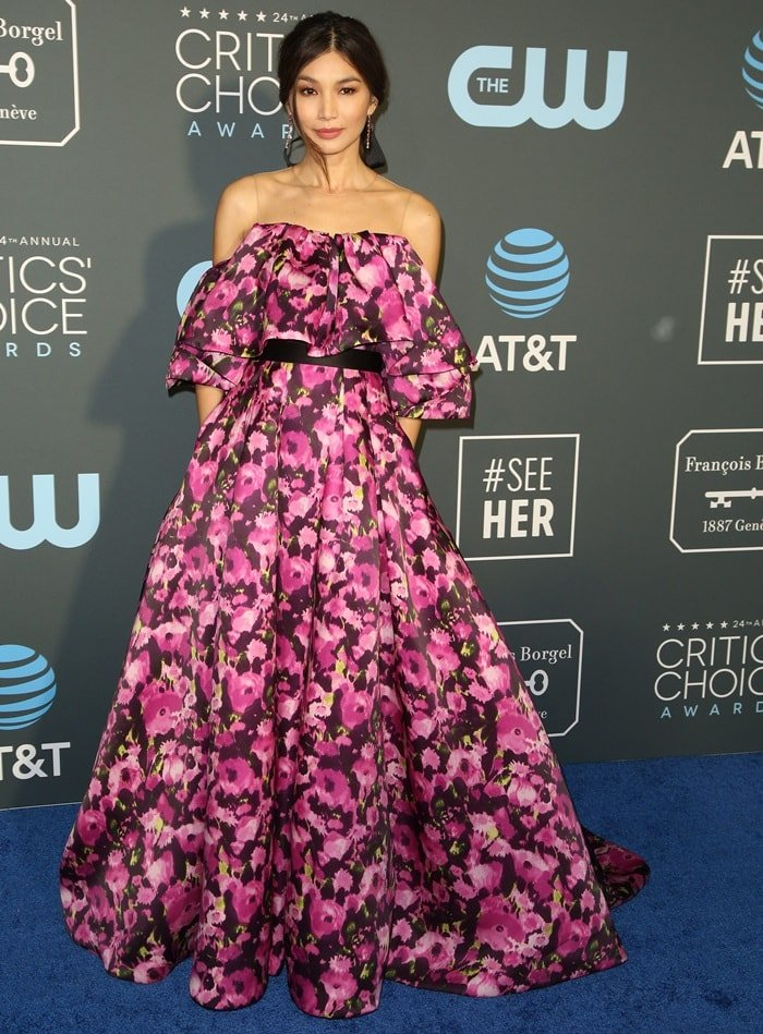 Gemma Chan's floral print Jason Wu gown at the 2019 Critics' Choice Awards