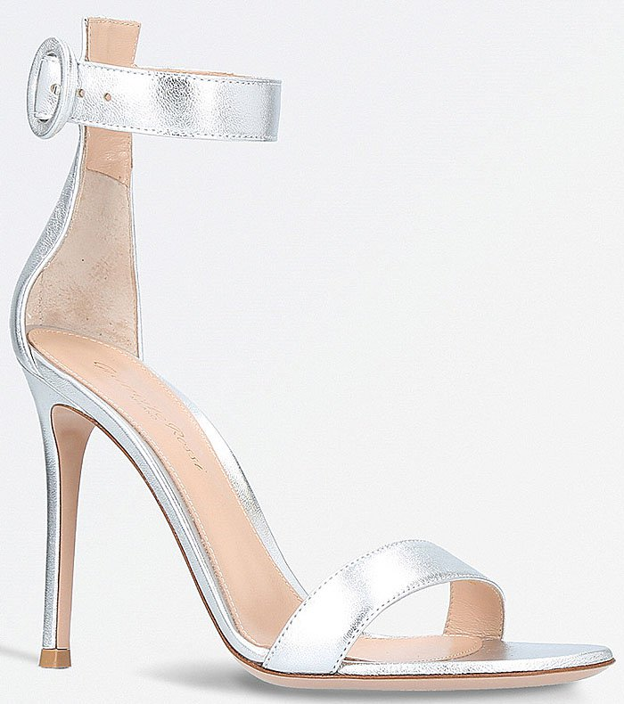 Gianvito Rossi 'Portofino' Ankle-Strap Sandals in Silver Leather