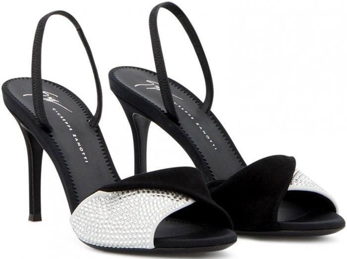 Crafted from black and white suede with crystals, these sandals feature a crossover detail.
