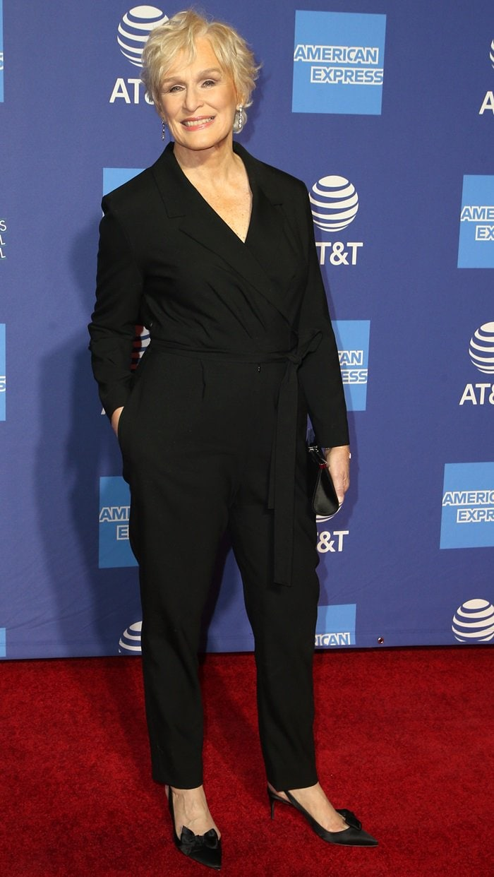 Glenn Close in a black Ingie Paris black wrap jumpsuitfor the awards gala at the 2019 Palm Springs International Film Festival in Palm Springs, California, on January 3, 2019