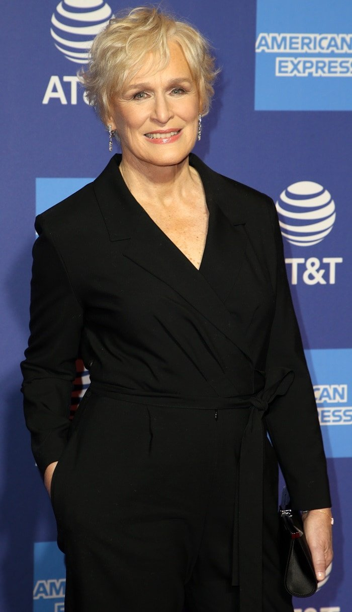 Glenn Close styled her black tuxedo with Cartier jewelry