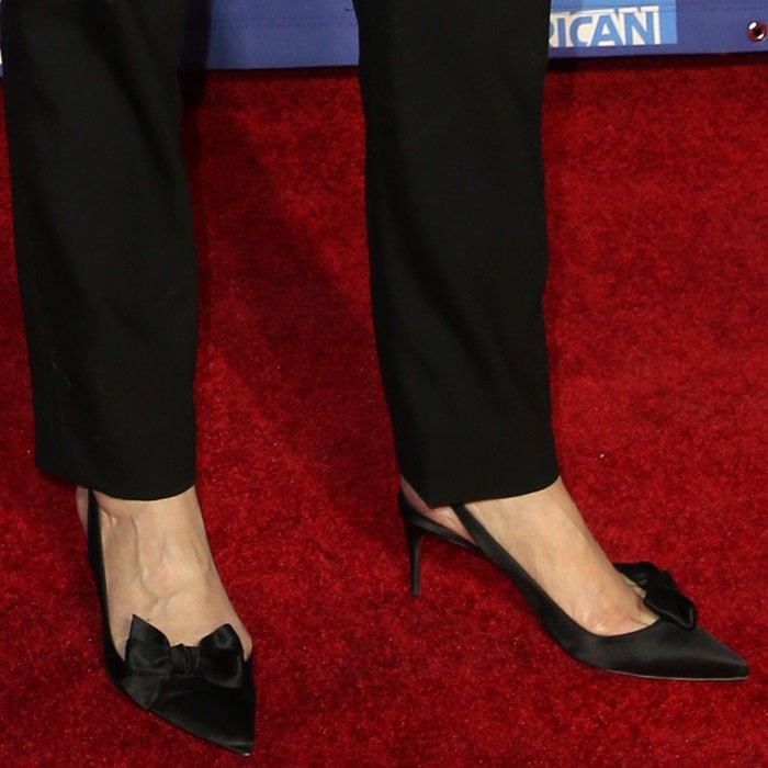 Glenn Close shows off her feet in black Yasling bow slingback red sole pumps from Christian Louboutin