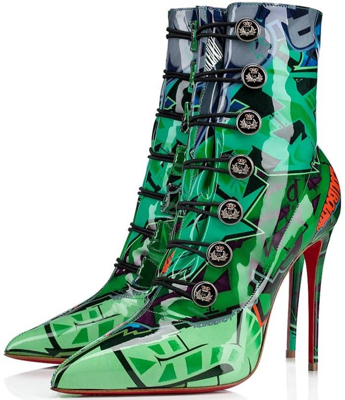Retro-chic and urban-cool are two ways to describe the printed Liossima ankle boots from Christian Louboutin