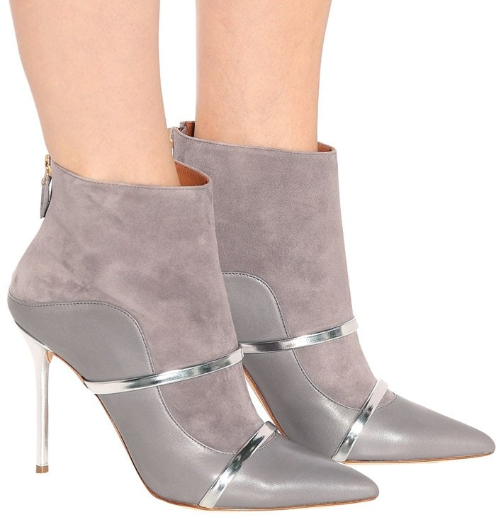 Malone Souliers brings its signature silhouette to the covetable Madison 100 ankle boots, in a sleek grey and silver colorway