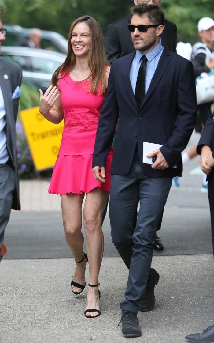 Hilary Swank arriving with her boyfriend Philip Schneider for the women's final at Wimbledon