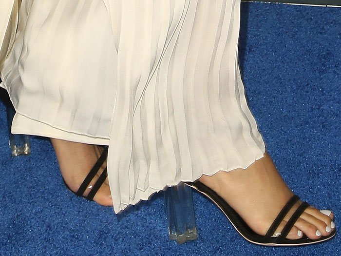 Closeup of the Louis Vuitton 'Silhouette' sandals with clear chunky heels