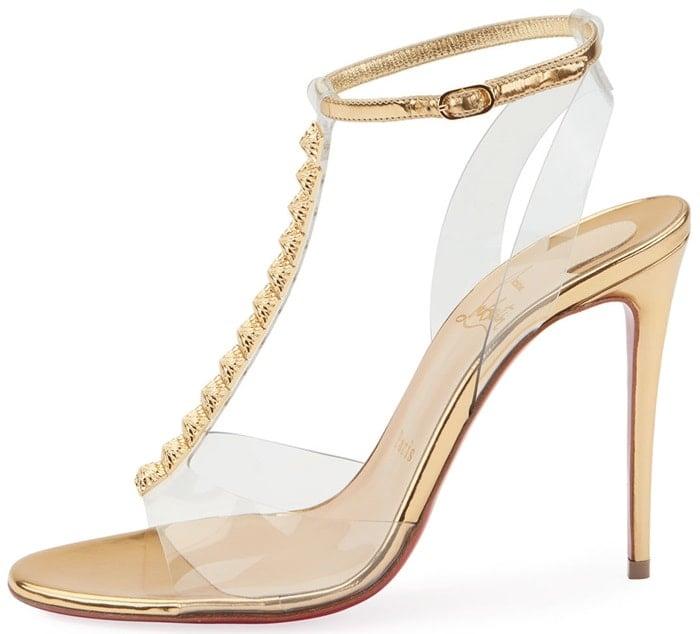 Gold Jamais Assez Clear T-Strap Sandals