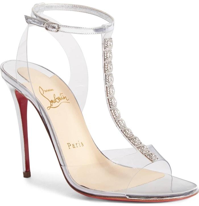 Silver Jamais Assez Clear T-Strap Sandals