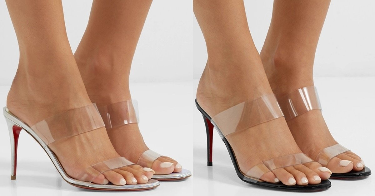 b7ed4a97cf7 Just Nothing PVC and Metallic Leather Mules by Christian Louboutin