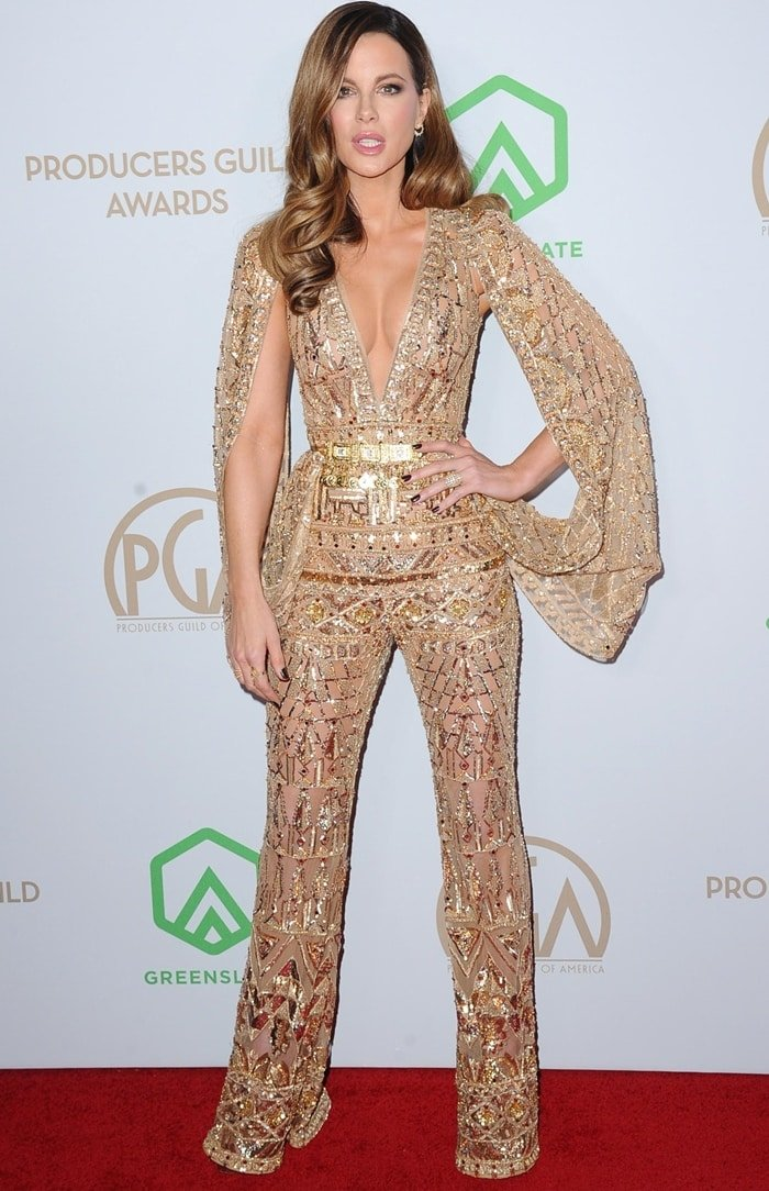 Kate Beckinsale wearing a Zuhair Murad jumpsuit and Effy jewelry at the 2020 Producers Guild Awards