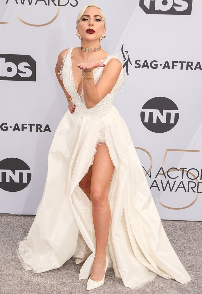 Lady Gaga's trashy underpants and white Jimmy Choo pumps
