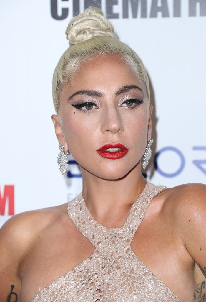 Lady Gaga showed off her Amwaj diamond earrings at the 2018 American Cinematheque Award Presentation at the Beverly Hilton Hotel in Beverly Hills, California, on November 29, 2018