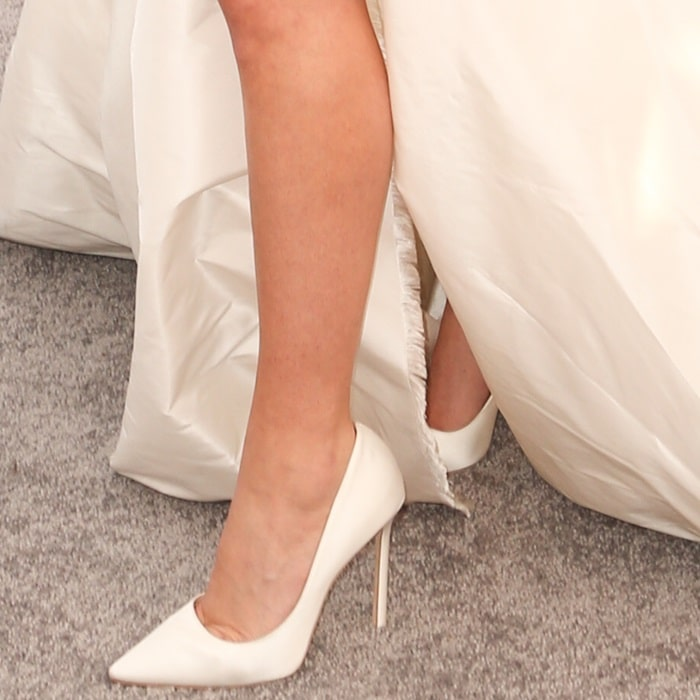Lady Gaga reveals her bare legs and sexy toe cleavage in white Jimmy Choo shoes