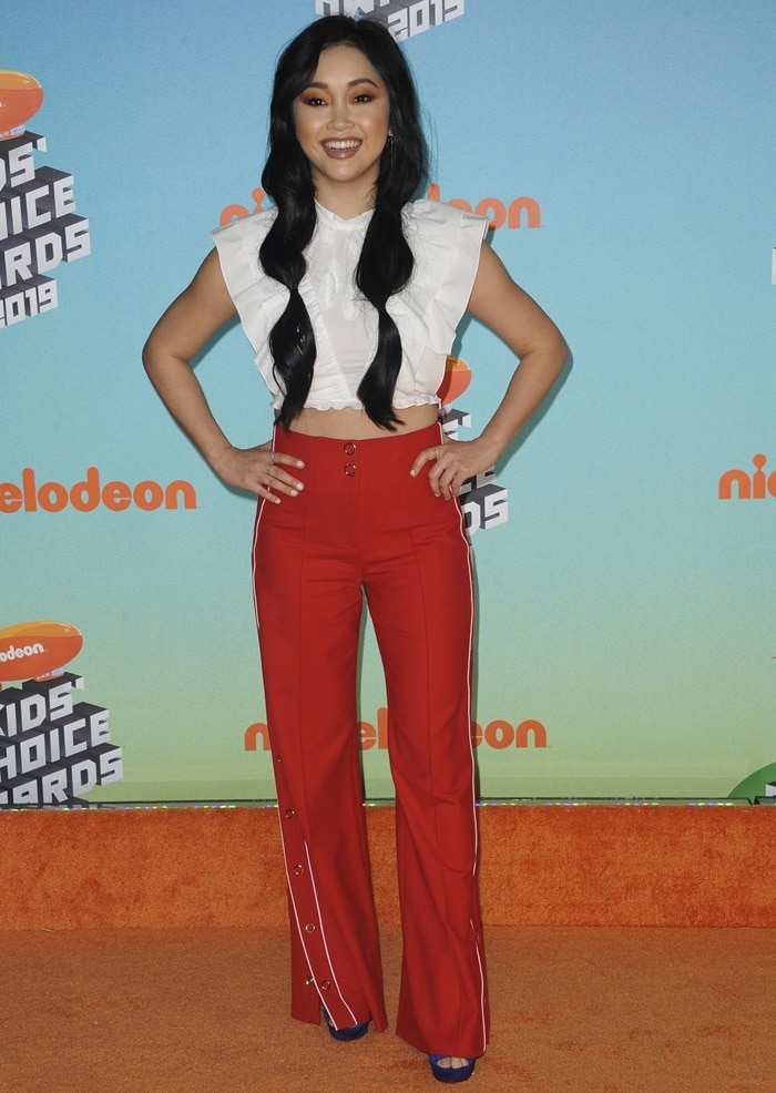 Lana Condor wore Christian Louboutin's Louloudance sandals at the 2019 Nickelodeon Kids' Choice Awards held at the Galen Center in Los Angeles on March 23, 2019