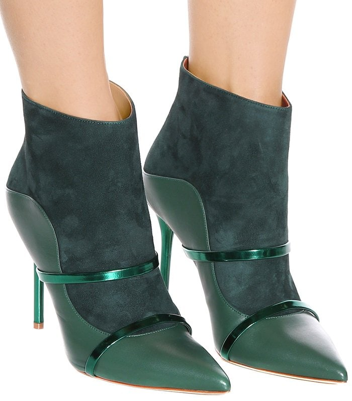 Malone Souliers brings its signature silhouette to the covetable Madison ankle boots, saturated in shades of pine and emerald green