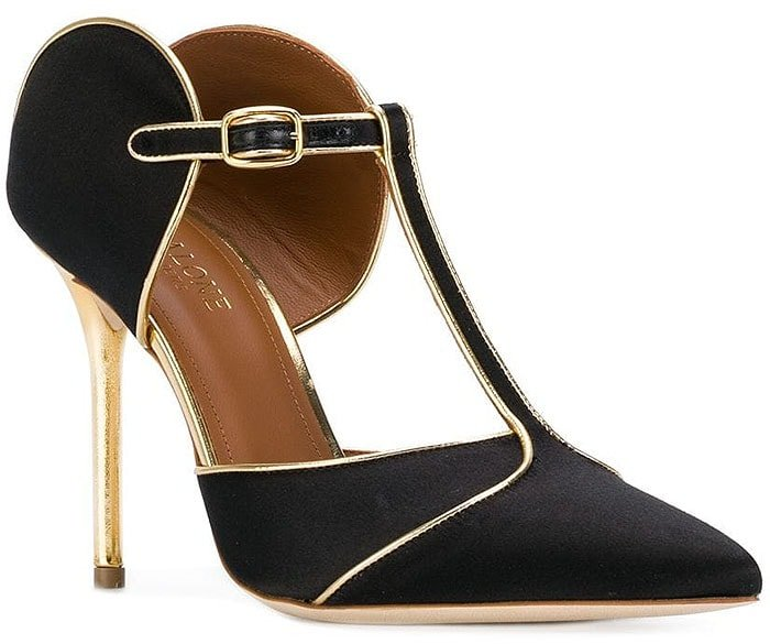 Malone Souliers 'Imogen' T-Strap Pumps in Black Silk and Gold Leather
